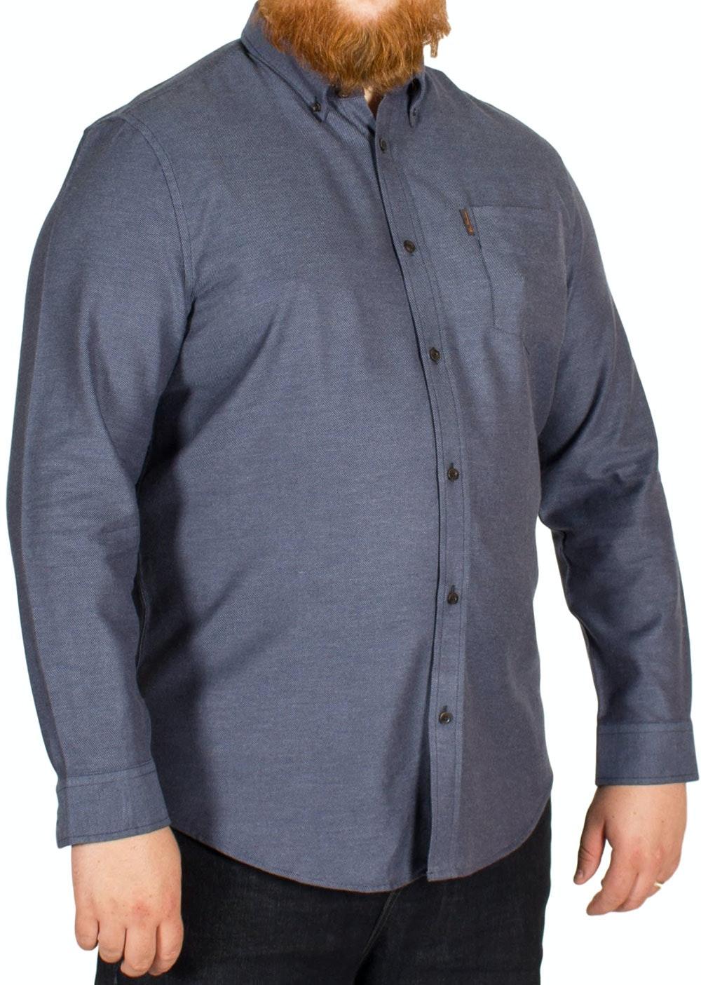 Ben Sherman Plain Twisted Cotton Shirt Indigo