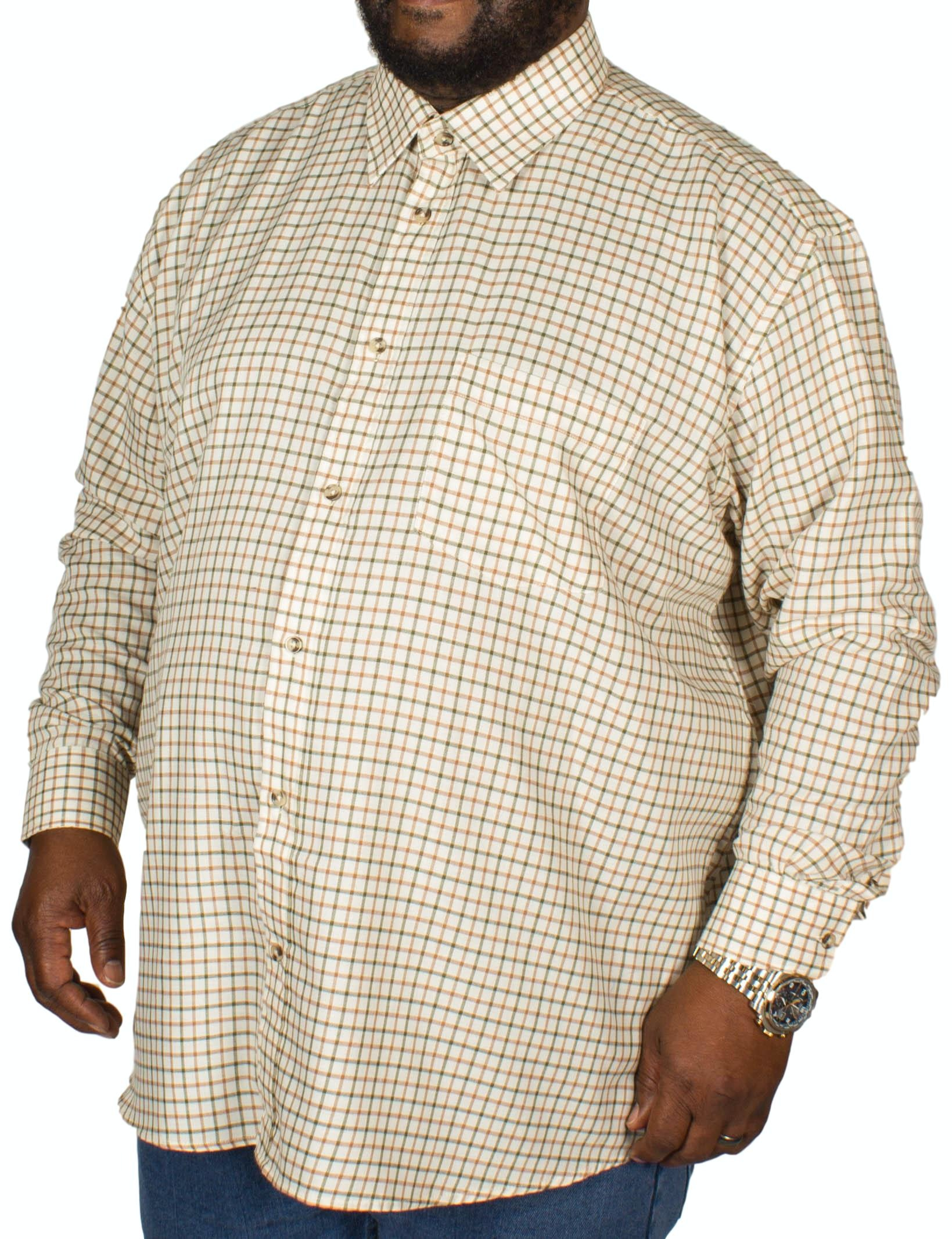 Cotton Valley County Check Long Sleeve Shirt Beige