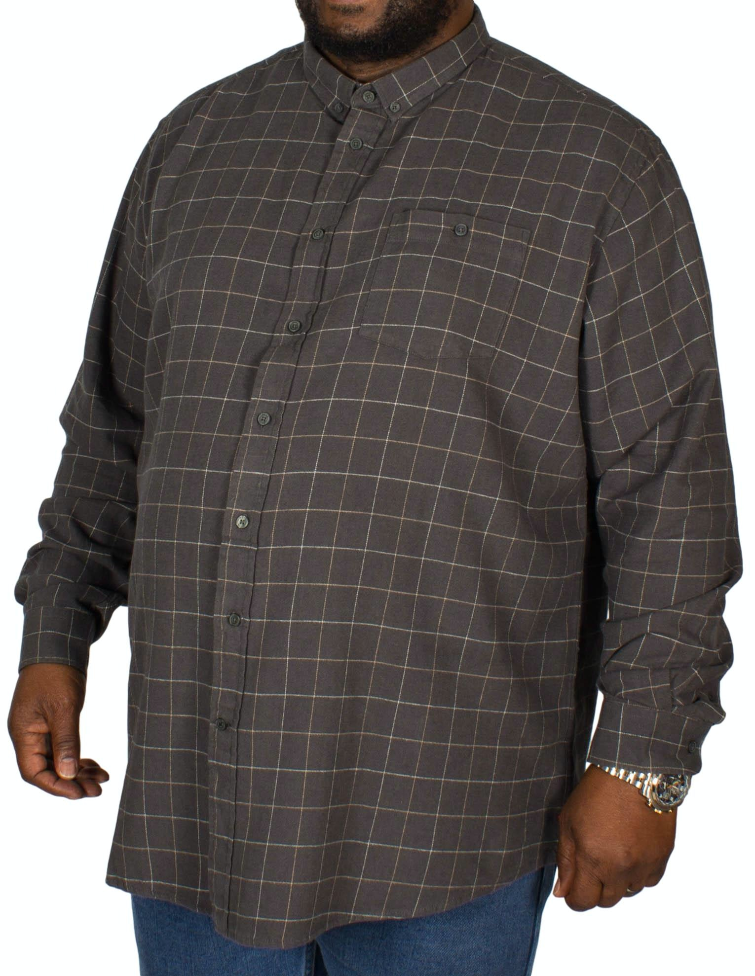 D555 Taylor Pane Check Shirt Charcoal