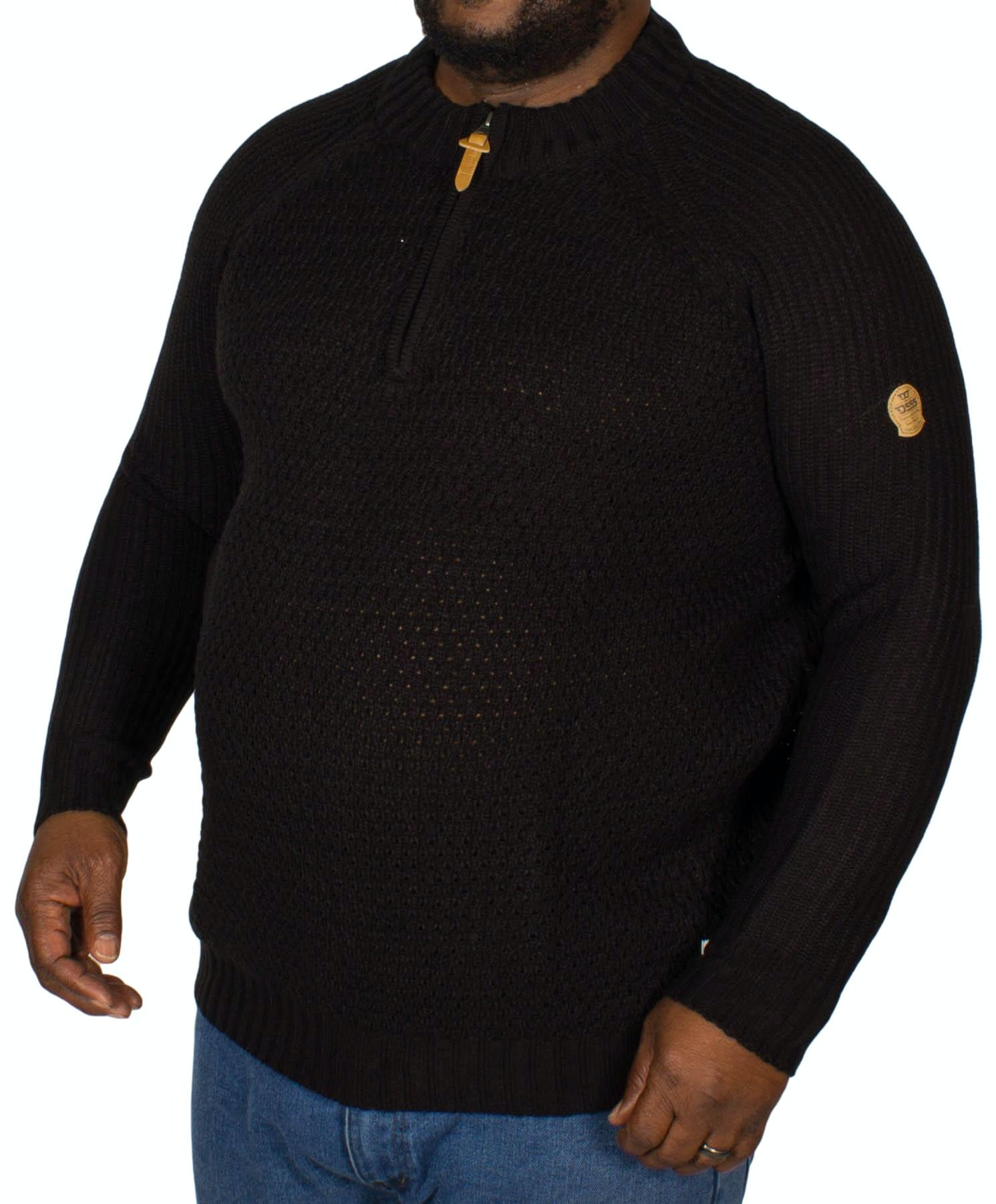 D555 Preston Zipper Neck Sweater Black