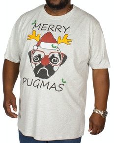 D555 Pugmas Print T-Shirt Off White