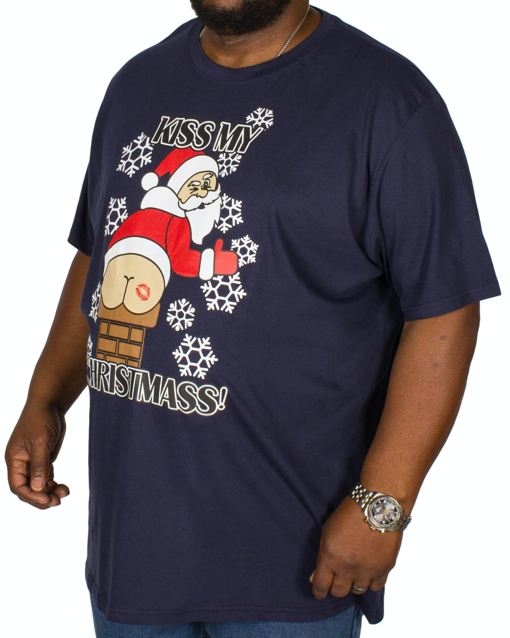 D555 Naughty Christmas Print T-shirt Navy