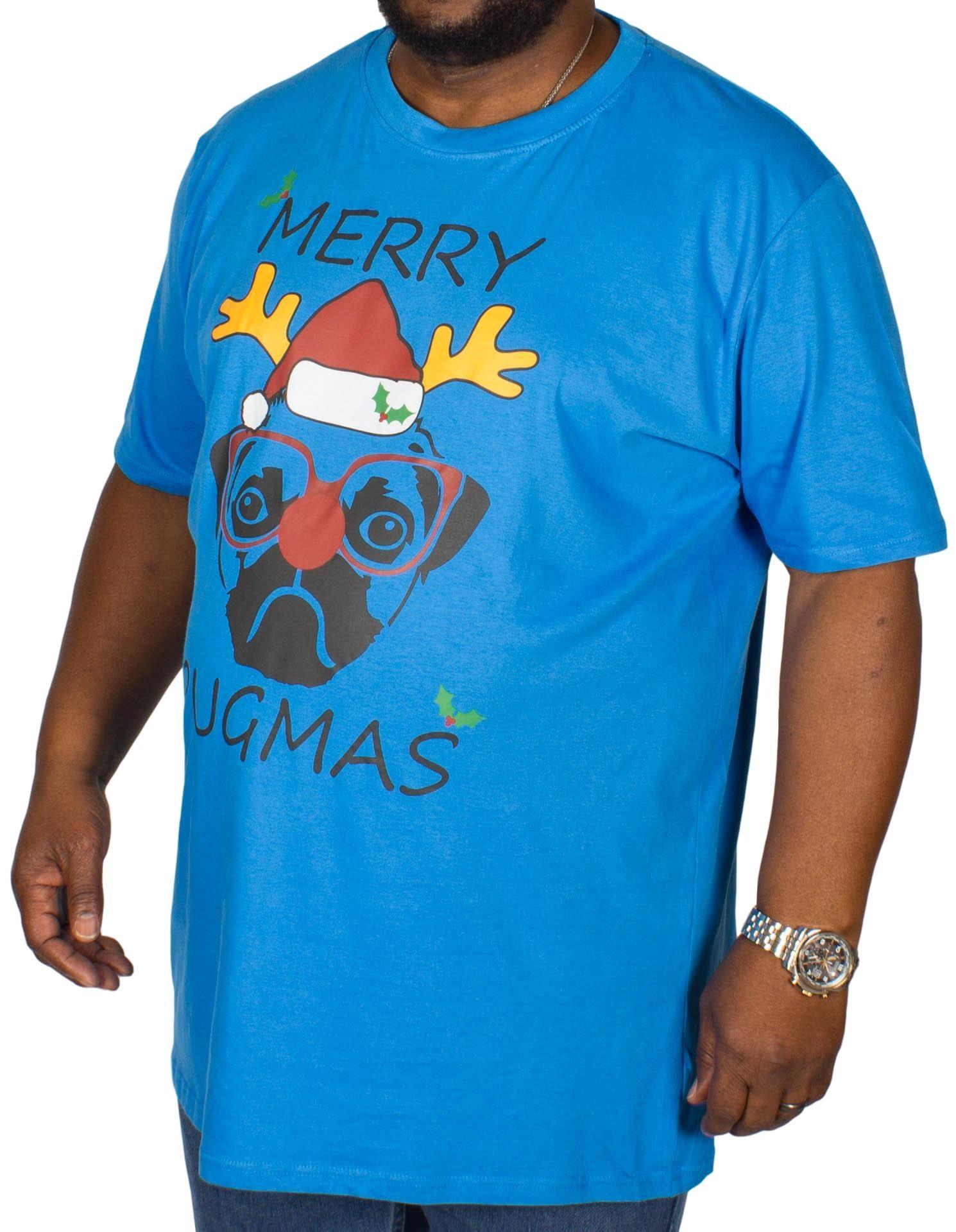 D555 Pugmas Print T-Shirt Blue