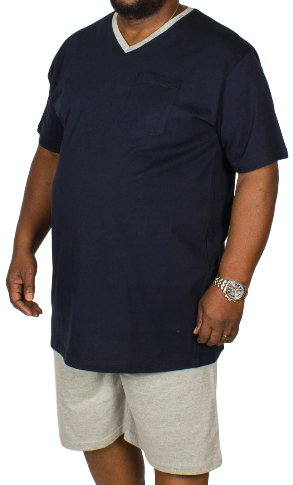 Bigdude Short V-Neck Pyjamas Navy/Grey