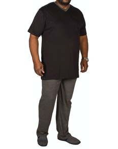 Bigdude V-Neck Pyjamas Black/Charcoal