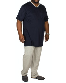 Bigdude V-Neck Pyjamas Navy/Grey