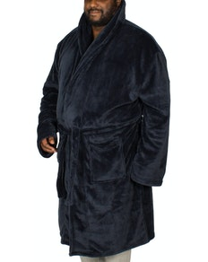 Bigdude Plain Fleece Dressing Gown Navy