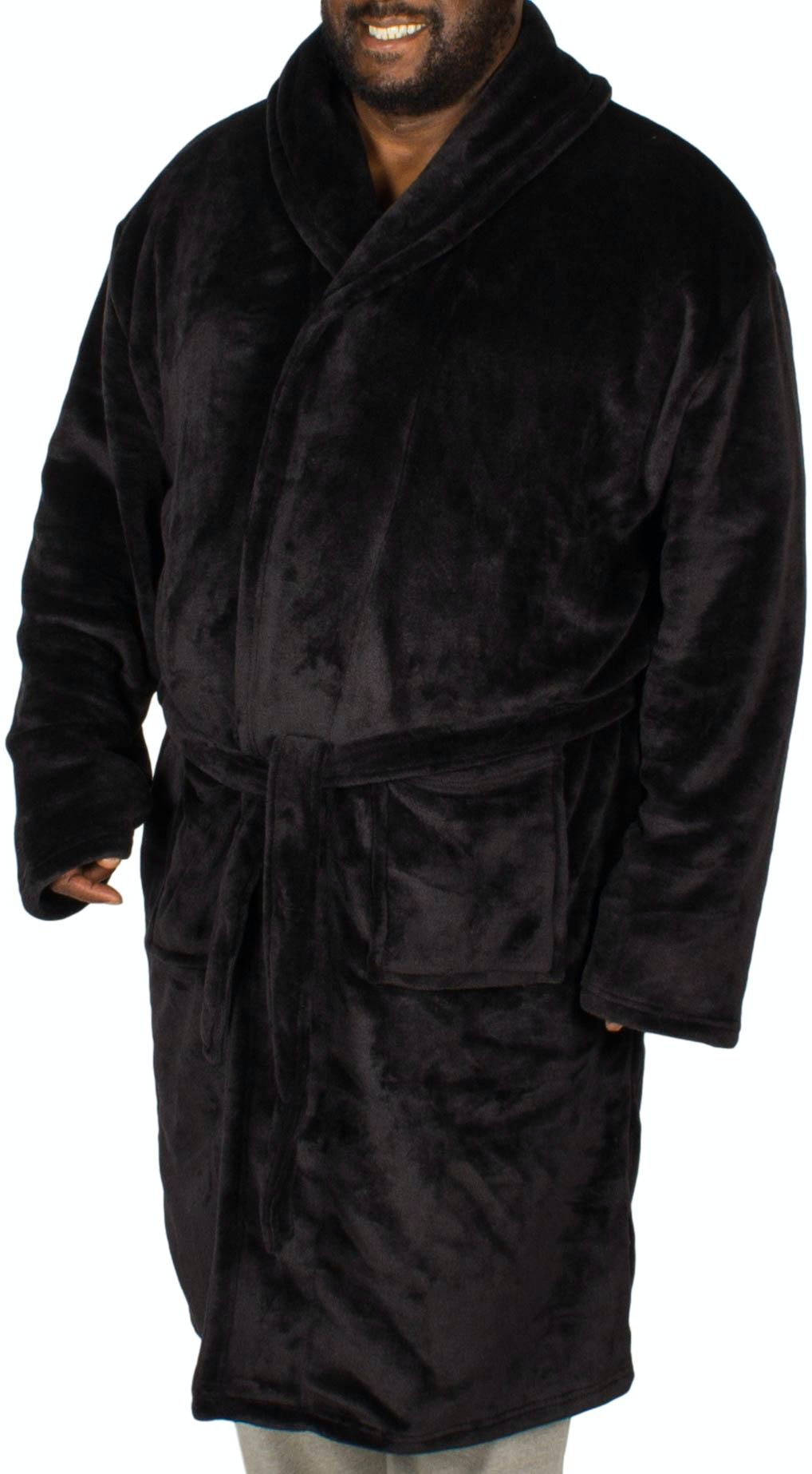 Bigdude Plain Fleece Dressing Gown Black