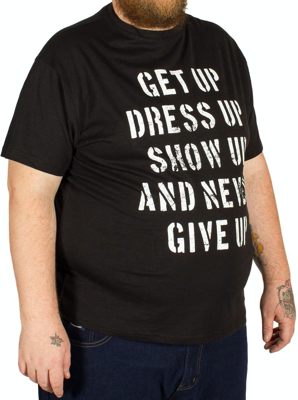 Replika 'Give Up' Printed T-Shirt Black