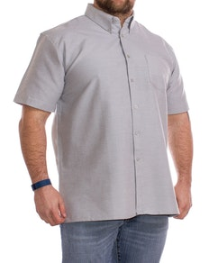 KAM Short Sleeve Oxford Shirt Grey