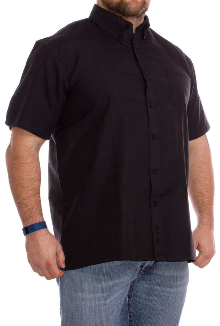 KAM Short Sleeve Oxford Shirt Black