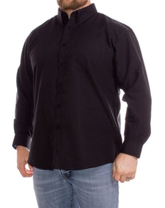 KAM Long Sleeve Oxford Shirt Black