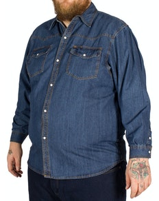 KAM Long Sleeve Denim Shirt Stonewash
