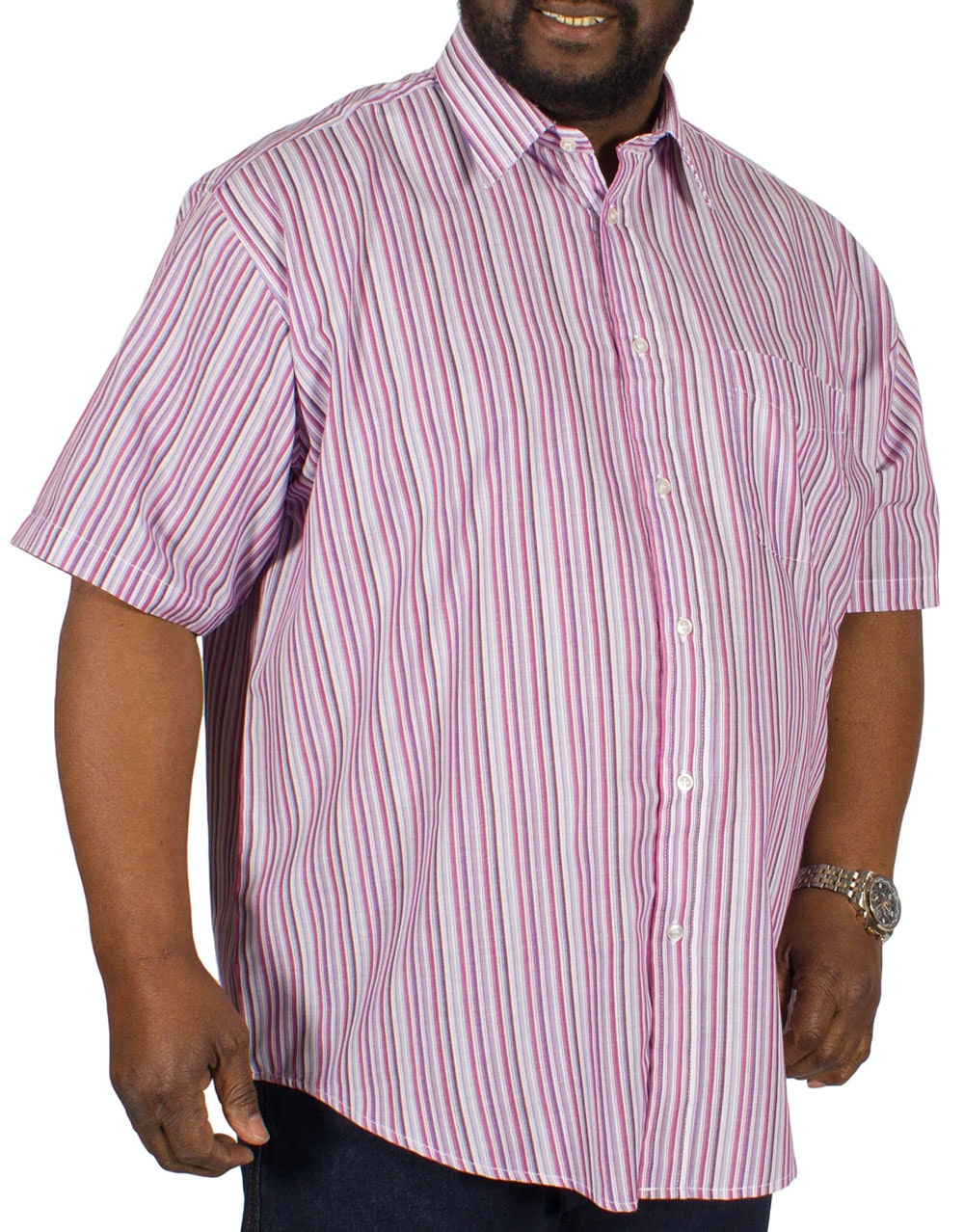 Metaphor Short Sleeve Multi Stripe Shirt Wine