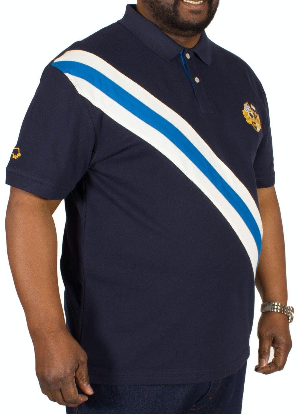 Raging Bull Diagonal Stripe Polo Shirt Navy