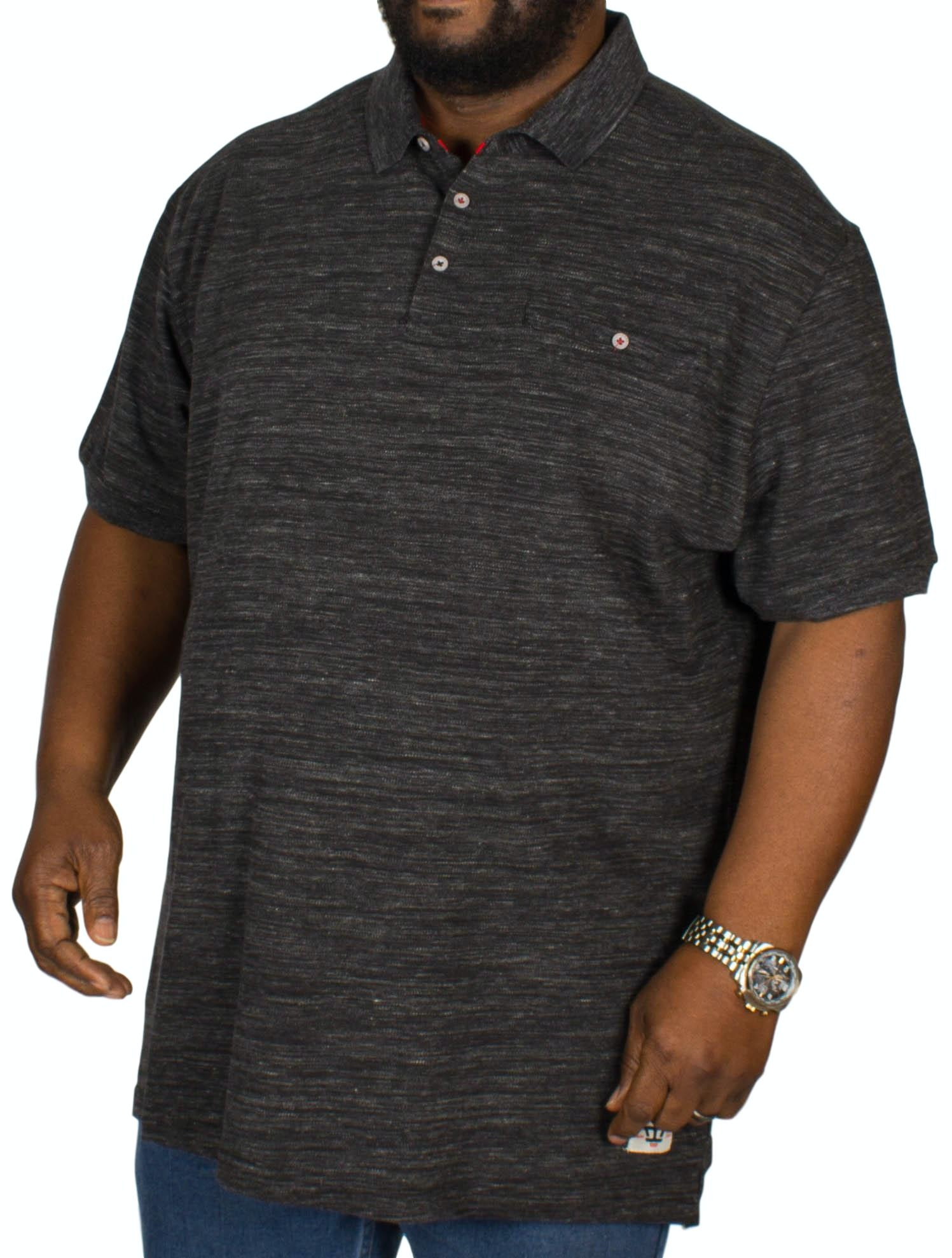 D555 Dunstan Heavy Slub Polo Shirt Black