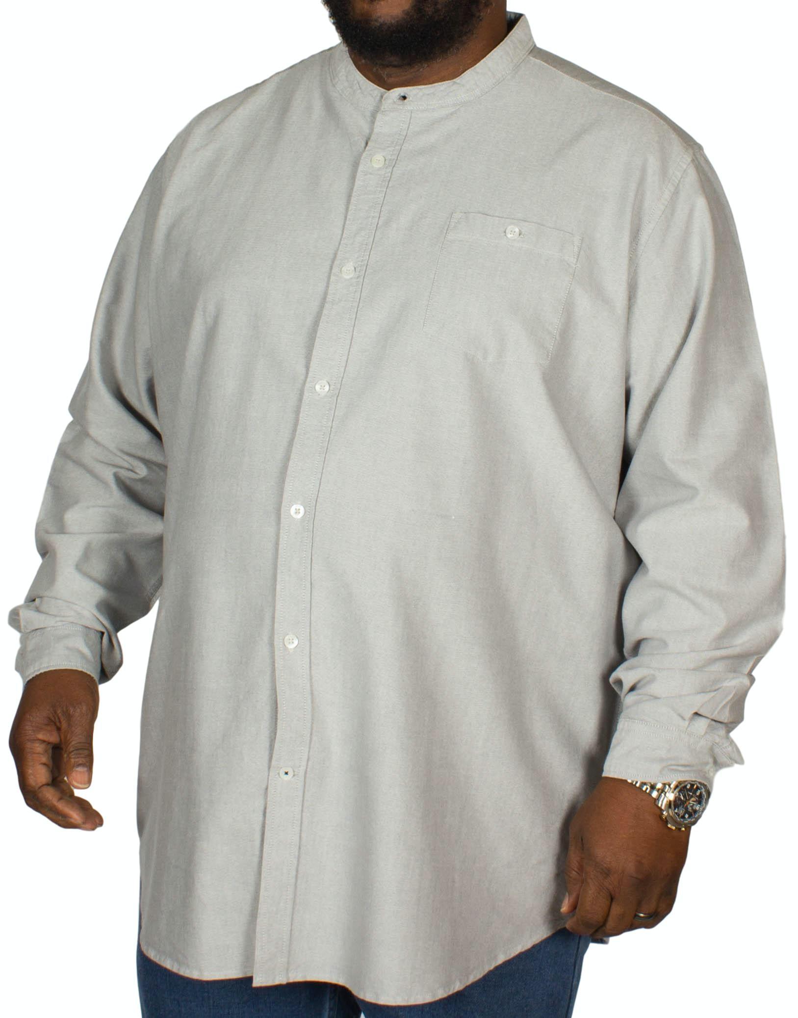 D555 Cameron Grandad Oxford Shirt Grey