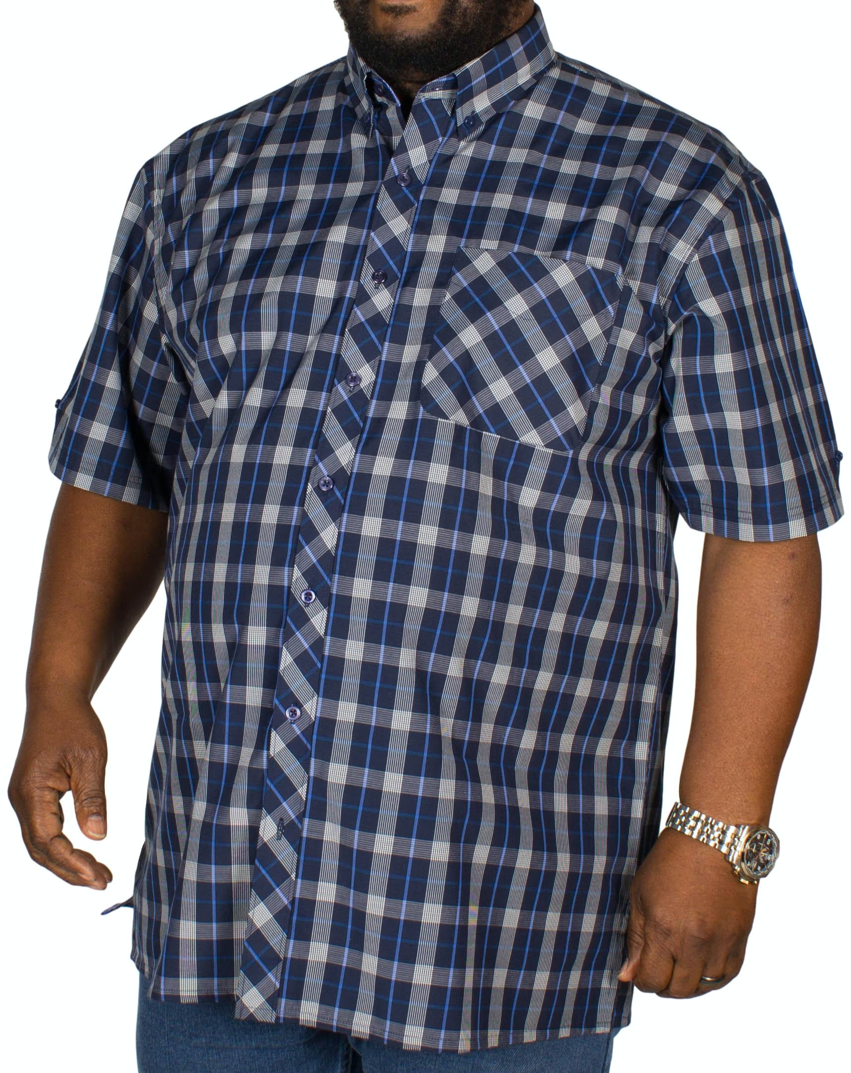 Espionage Check Short Sleeve Shirt Navy/Blue/White