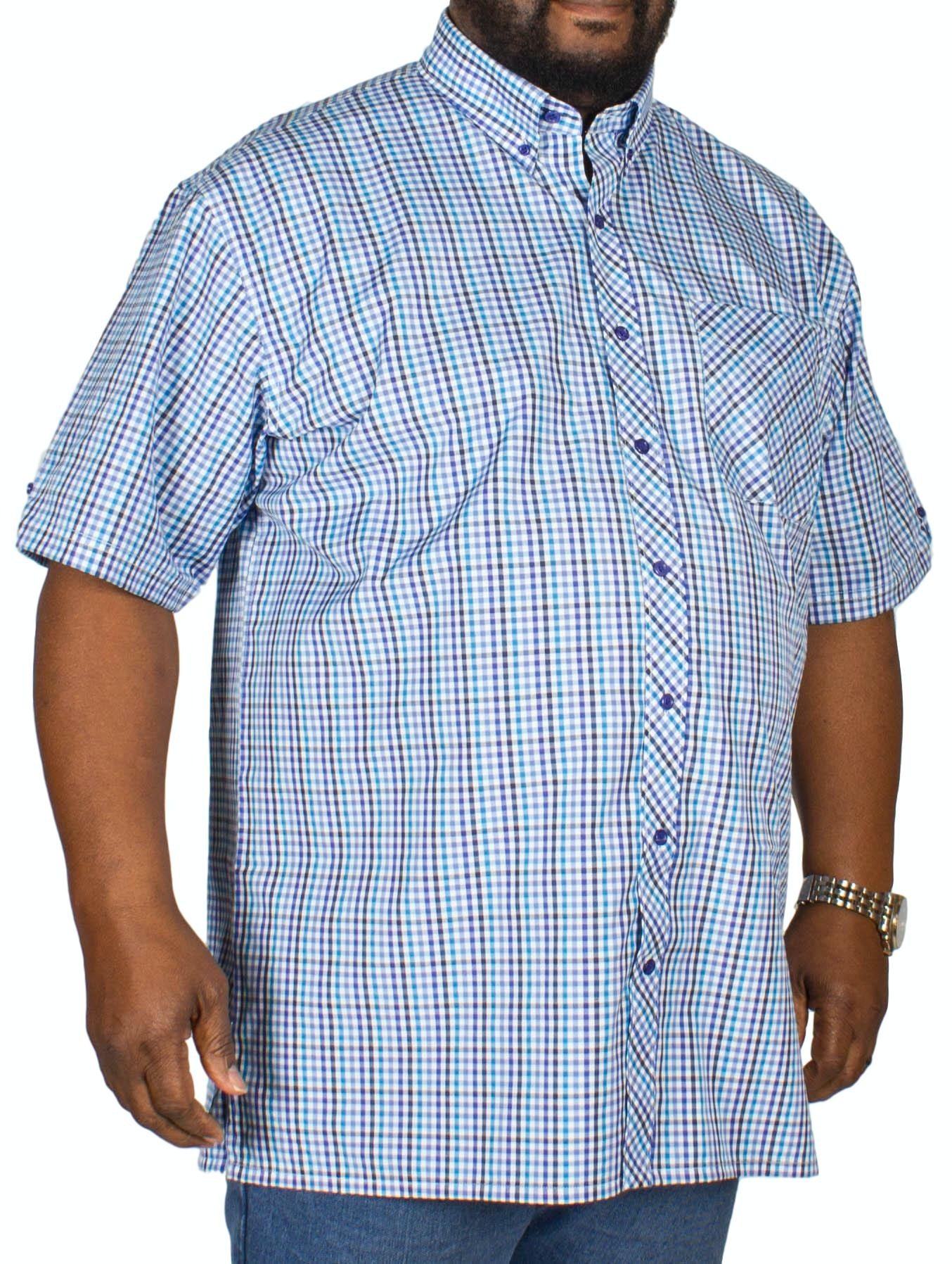 Espionage Gingham Check Short Sleeve Shirt Navy/Blue/Turq