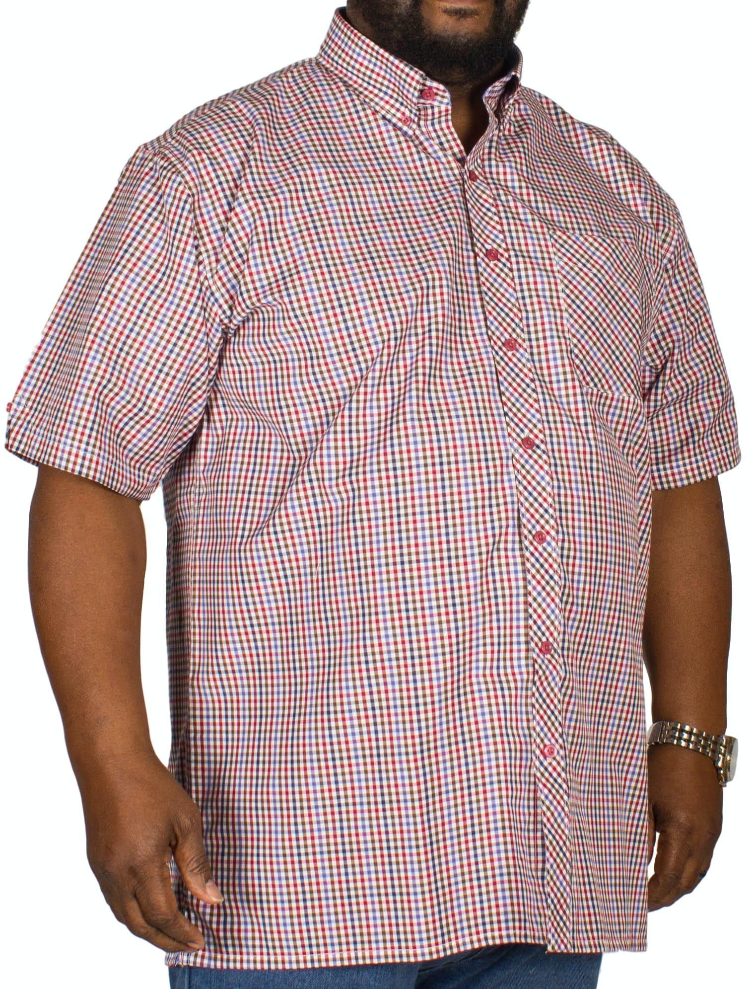 Espionage Gingham Check Short Sleeve Shirt Navy/Red/Tan