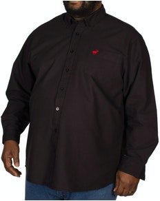 Bigdude Long Sleeve Oxford Shirt With Pocket Black