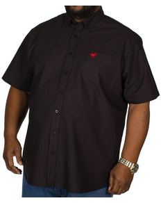 Bigdude Short Sleeve Oxford Shirt Black