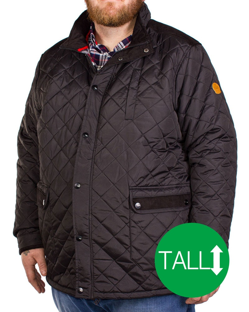 D555 Barton Quilted Jacket Black Tall
