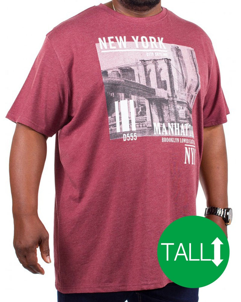 D555 Wesley New York Print T-Shirt Burgundy Tall
