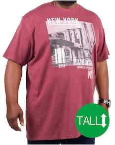 D555 Wesley New York Print T-Shirt Burgundy Tall
