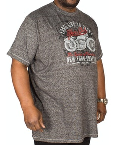 D555 Bradley Bikers Club Print T-Shirt Charcoal Tall