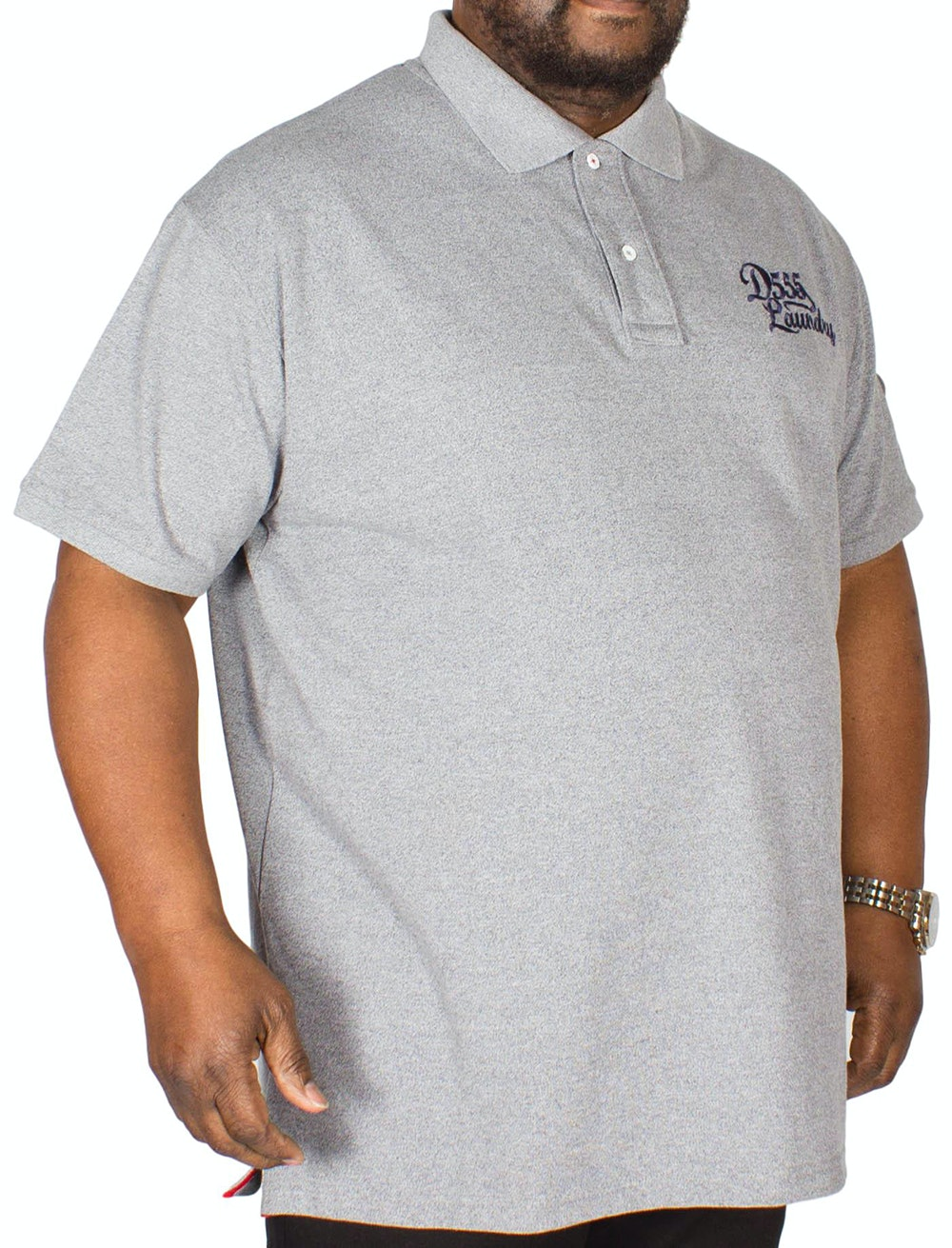 D555 Graham Embroidered Polo Shirt Grey Tall