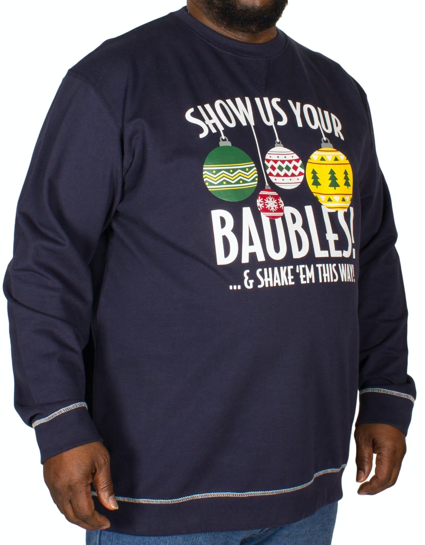 D555 Baubles Print Christmas Sweatshirt Navy