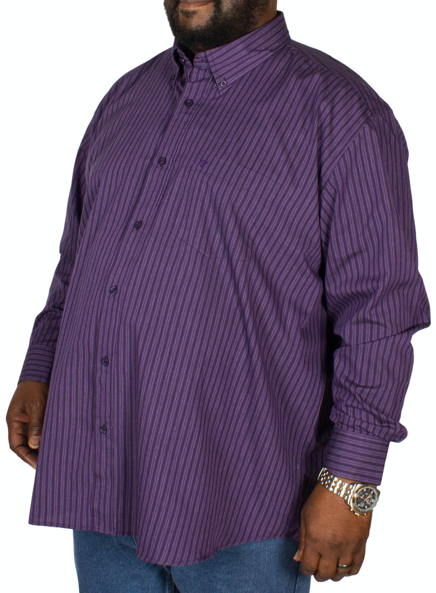 Cotton Valley Stripe Long Sleeve Shirt Purple