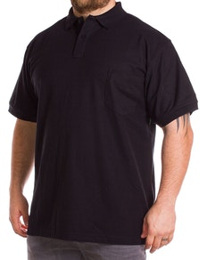 KAM Black Short Sleeve Plain Polo Shirt