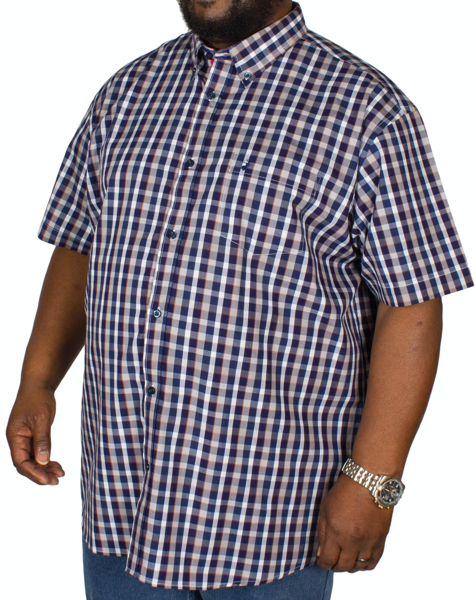 KAM Short Sleeve Retro Check Shirt Navy