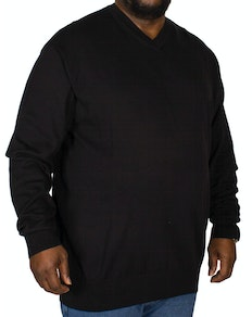 KAM V-Neck Long Sleeve Knitted Jumper Black