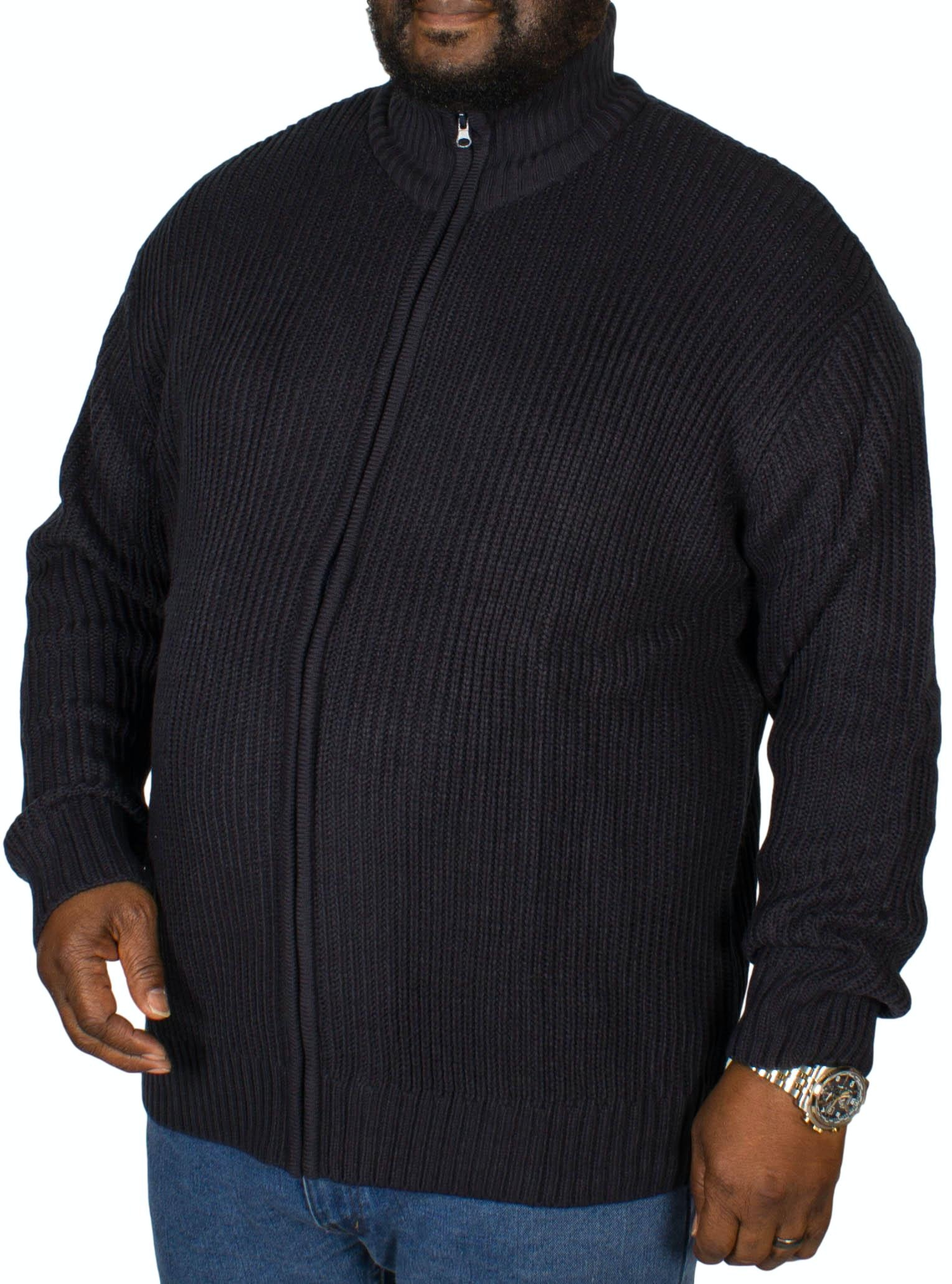 Metaphor Ribbed Zipped Knitted Sweater Navy