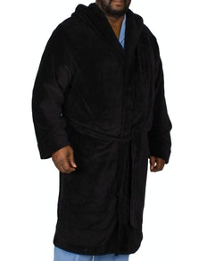 Espionage Hooded Fleece Gown Black