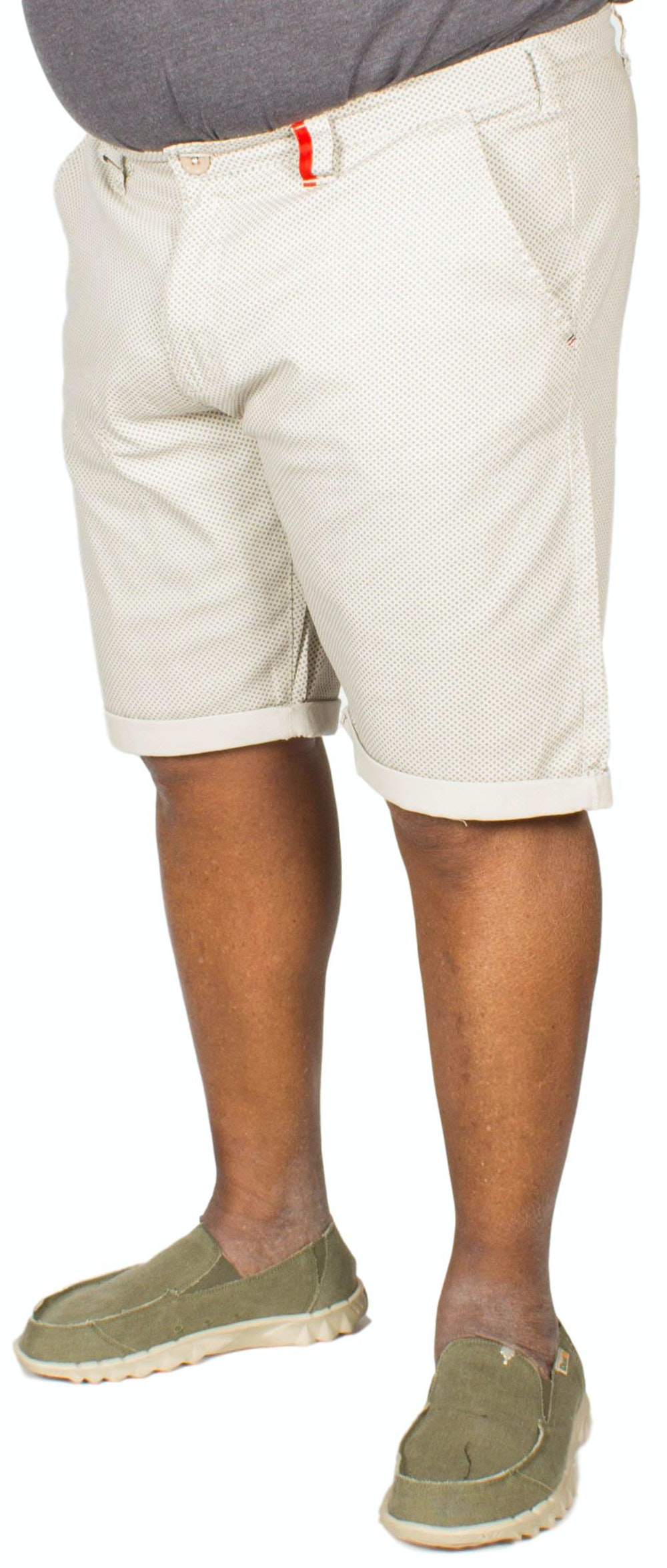 D555 Rupert Tile Print Stretch Chino Shorts Grey