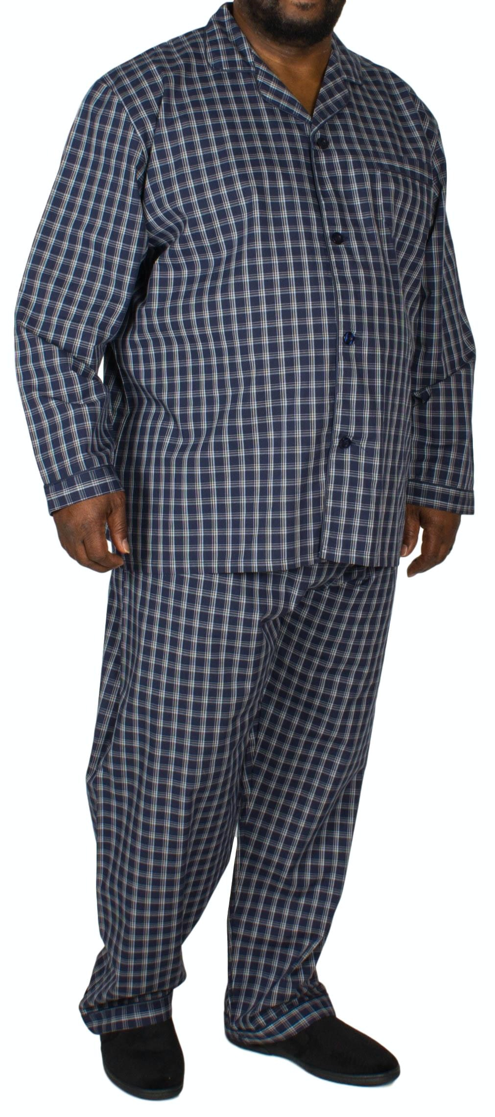 Pyjamas Long Sleeve & Trousers Check Blue