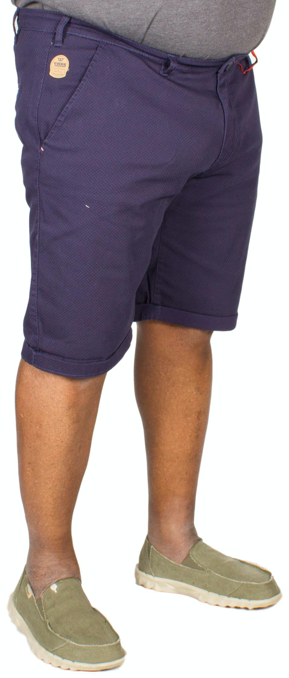 D555 Rupert Tile Print Stretch Chino Shorts Navy