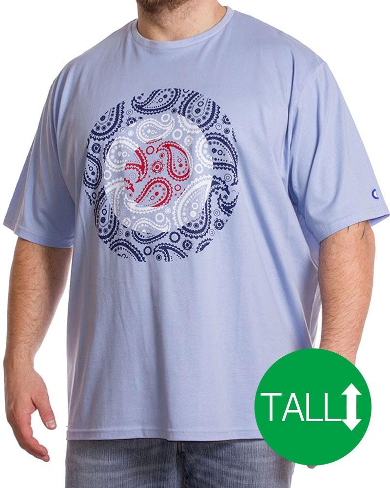 Lambretta Tall Paisley T-Shirt Blue