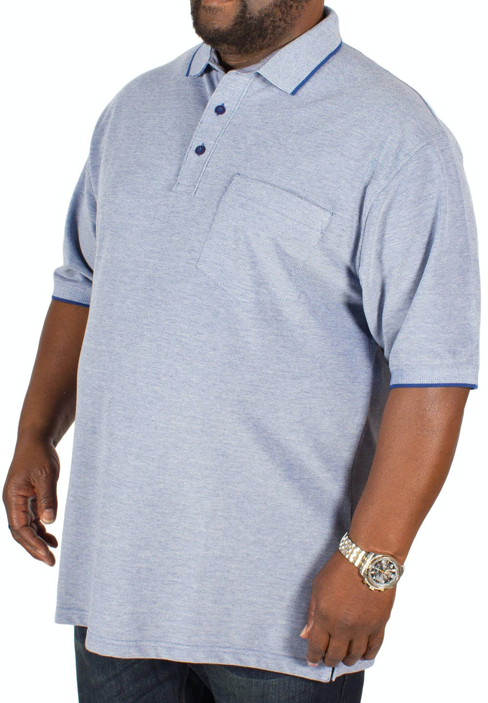 Bigdude Marl Effect Pocket Polo Shirt Blue