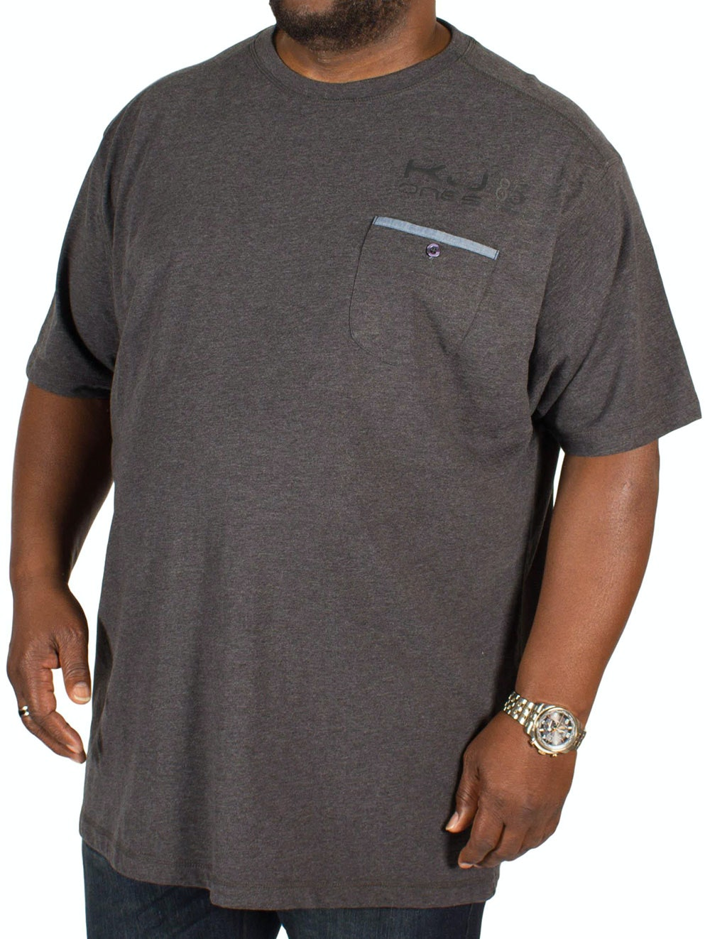 KAM Melange Pocket T-Shirt Charcoal