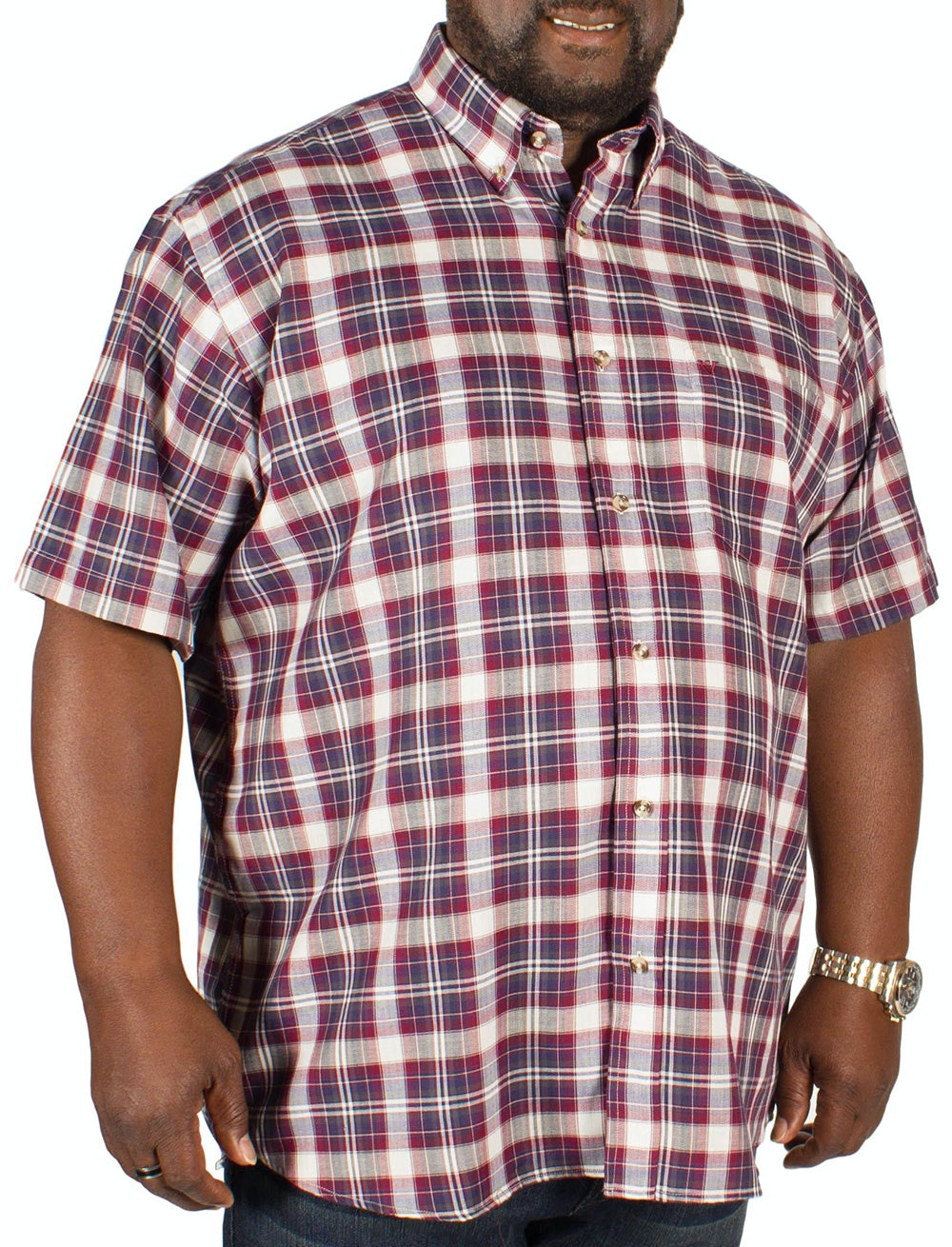 Cotton Valley Short Sleeve Twill Check Shirt Wine