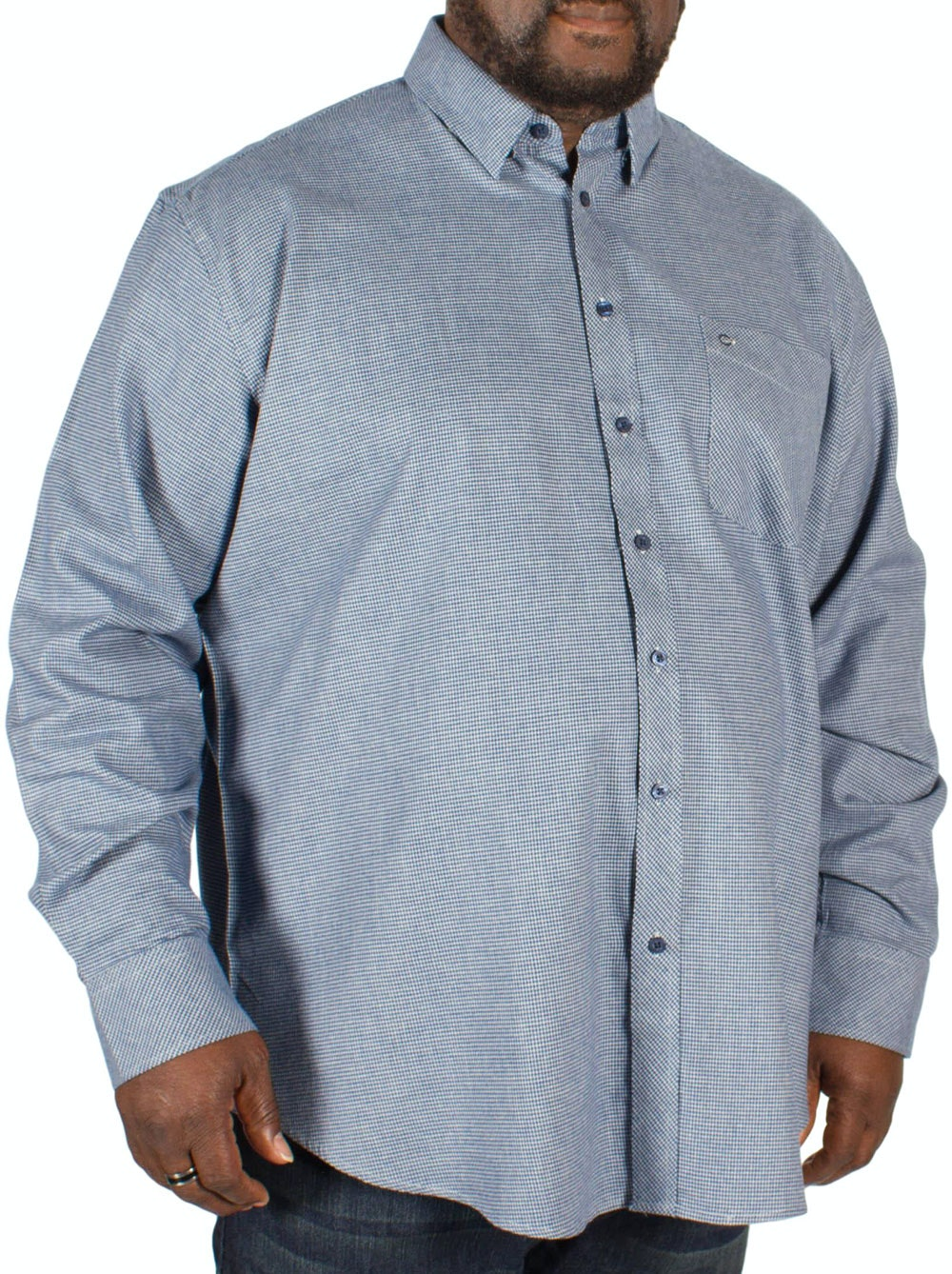 Peter Gribby Long Sleeve Hounds Tooth Shirt Royal