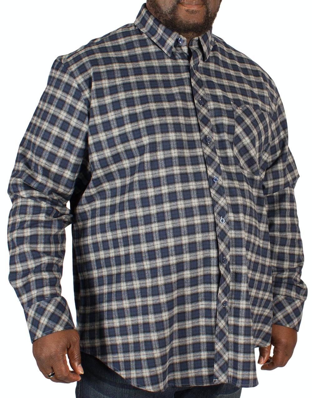 Peter Gribby Long Sleeve Brushed Check Shirt Indigo