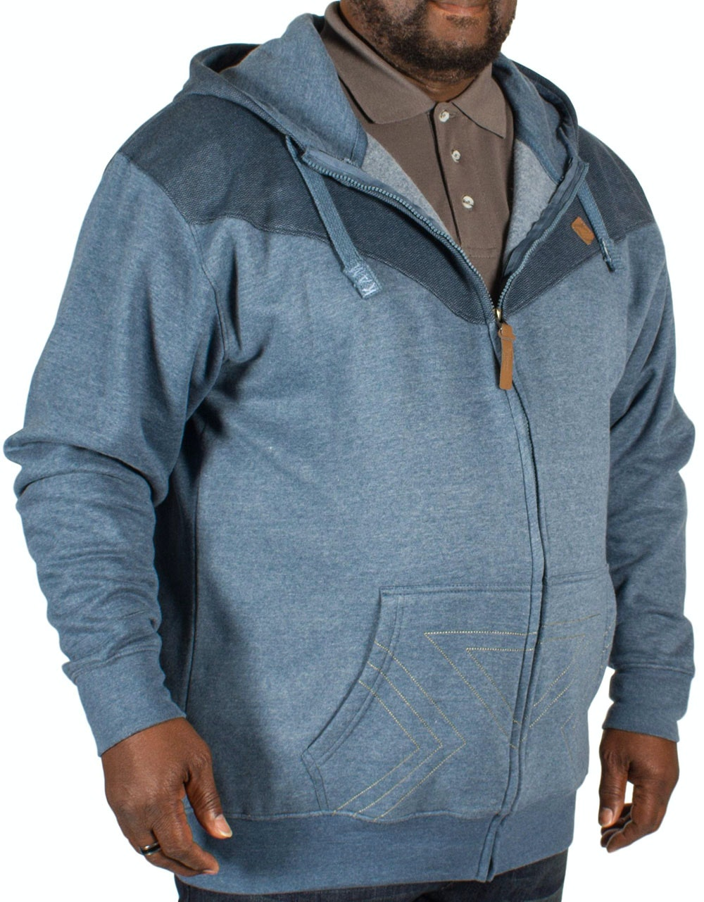 KAM Panel Print Hoody Denim