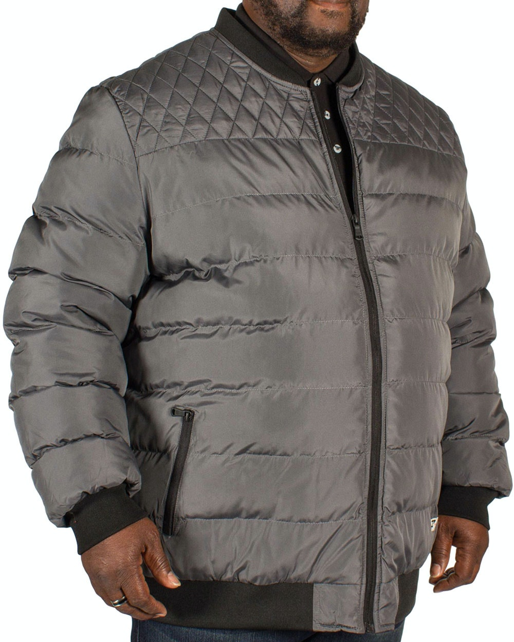 D555 Turner Quilted Bomber Jacket Charcoal