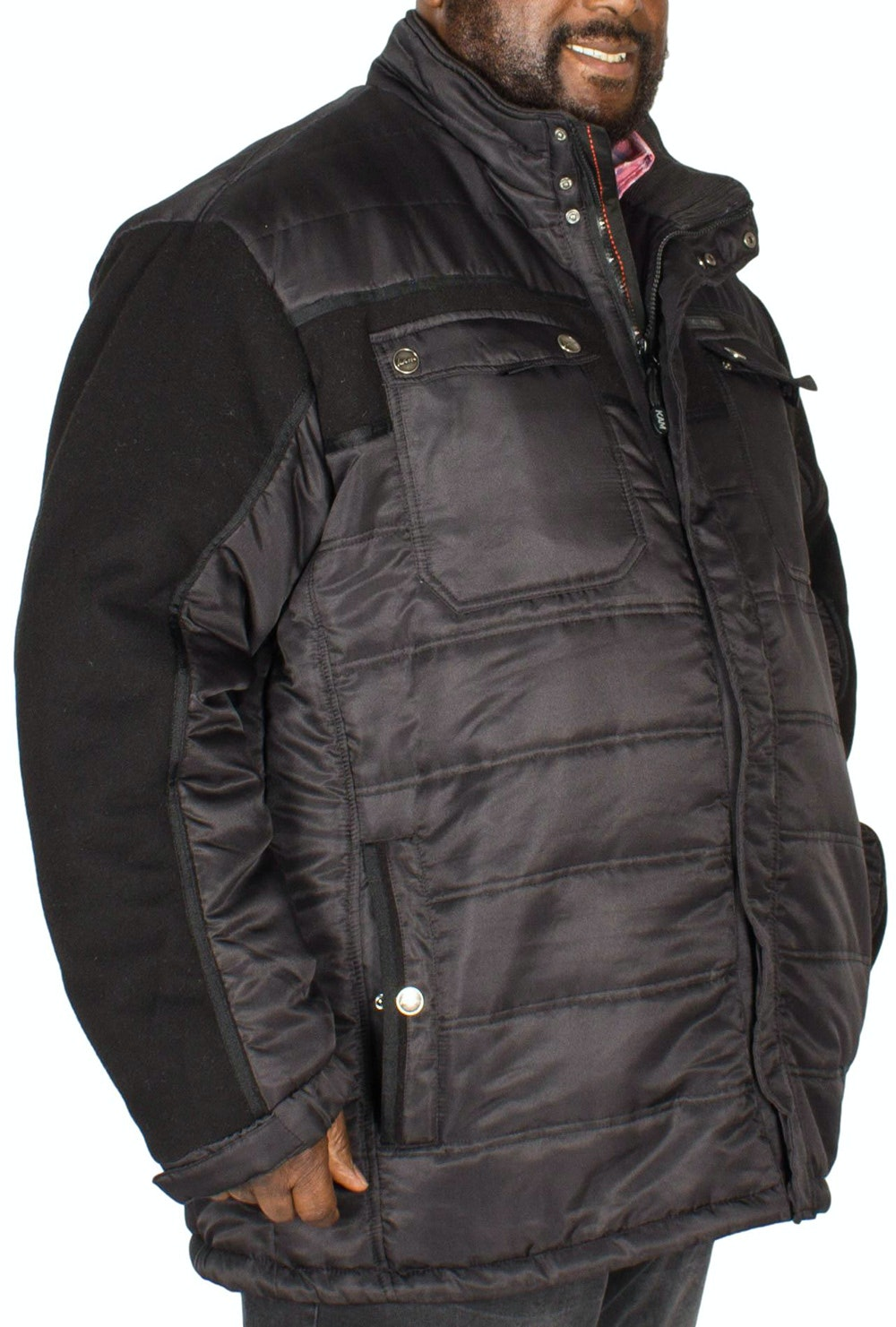KAM Padded Jacket With Fleece Sleeves